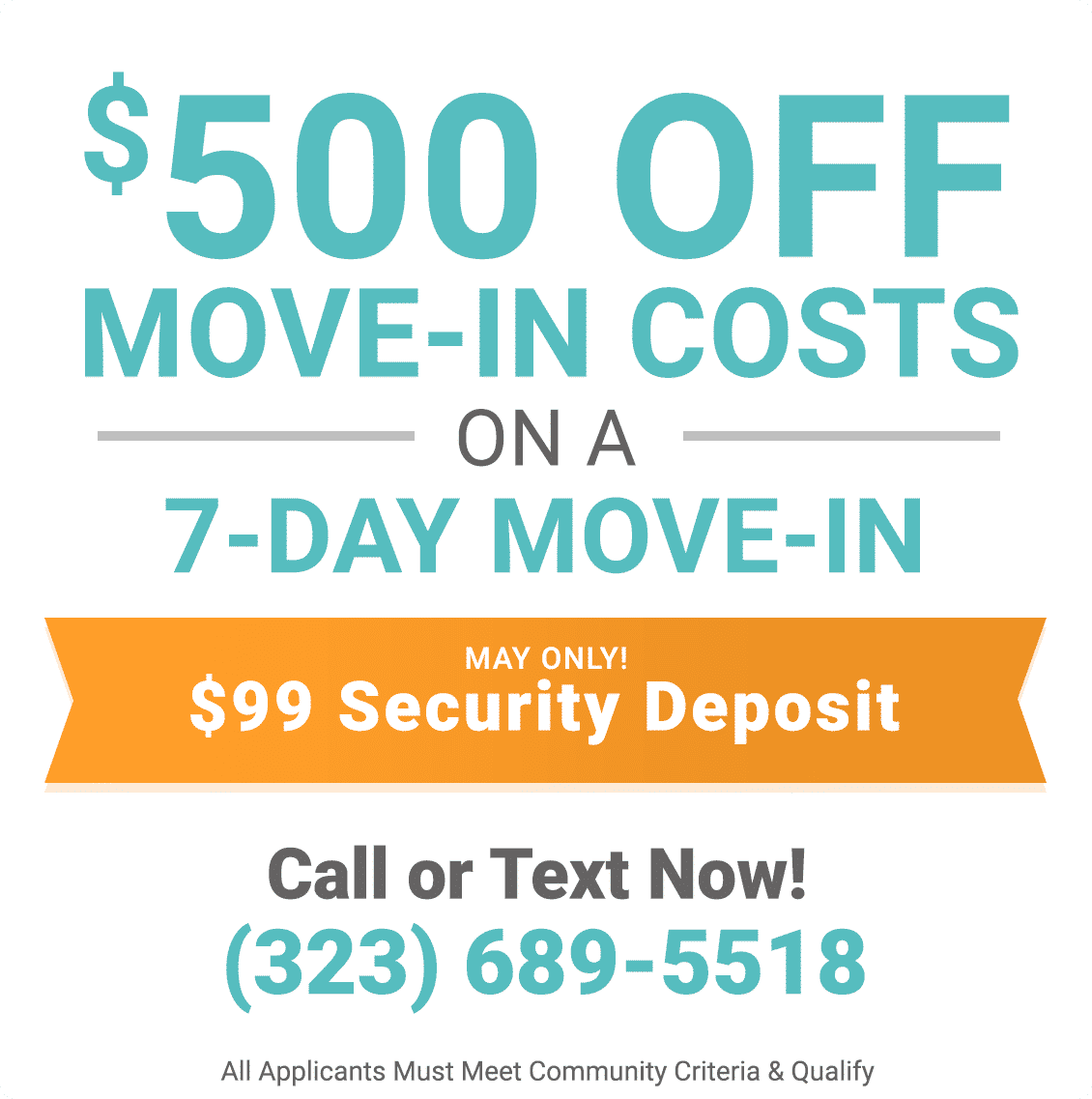 $500 off move-in costs on a 7-day move-in